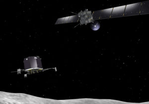 Impresión artística de la nave Rosetta desplegando el módulo de aterrizaje Philae al cometa 67P / Churyumov - Gerasimenko. Crédito: Agencia Espacial Europea