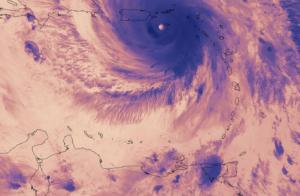 El instrumento de radiografía infrarroja (VIIRS) del satélite Suomi de la NASA-NOAA capturó una imagen termal del huracán María el 20 de septiembre del 2017. Fuente: nasa.gov