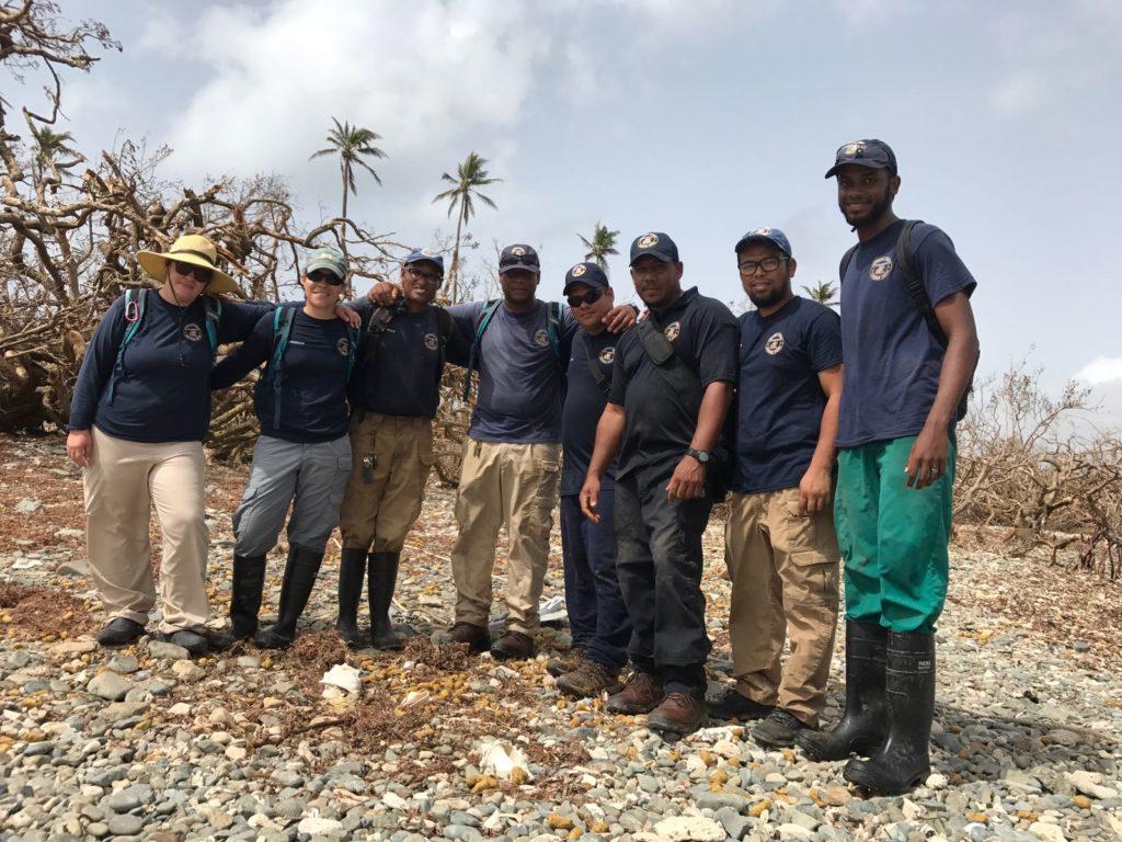 El personal visita Cayo Santiago para evaluar el daño después de la tormenta. Crédito de foto: Crédito de foto: Angelina Ruiz Lambides, Centro de Investigación de Primates del Caribe.