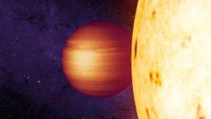 Leyenda: Bosquejo de artista muestra el exoplaneta gaseoso CoRoT-2b con un punto caliente hacia el oeste en órbita alrededor de su estrella. Créditos: NASA / JPL-Caltech / T. Pyle (IPAC)