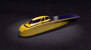 Una imagen 3D de Novum, el coche solar del equipo de Universidad de Michigan que competirá en el 2017 Bridgestone World Solar Challenge. Crédito: Steve Alvey/ Diseñador Gráfico SciTech 3D/2D de la Facultad de Ingeniería de la U-M.