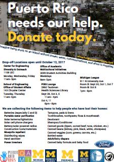 Estudiantes, profesores y trabajadores de la Universidad de Michigan están recolectando agua, comida y enseres básicos para Puerto Rico.