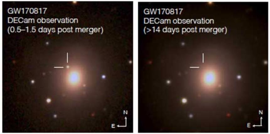 Dos imágenes ópticas de la Cámara de Energía Oscura muestran la kilonova transitoria resultante cerca de la galaxia NGC 4993 en la primera detección y su ausencia después de un rápido desvanecimiento (ubicación marcada con líneas). Imagen cortesía de Fermilab