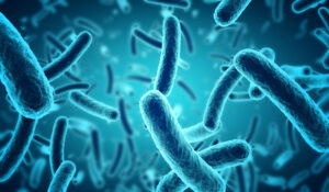 close up de bacterias azules microscópicas en 3d. Crédito: Claudio Ventrella. Derechos Reservados.