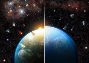 Representación artística de las simulaciones de los investigadores muestra cómo los sistemas planetarios nacidos en regiones densas y masivas de formación estelar (izquierda) heredan cantidades sustanciales de materiales radiactivos, lo que los hace mucho más secos que los formados en diferentes entornos (derecha). Crédito de la imagen: Roger Thibaut