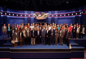 Comisión de Debates Presidenciales y Delegación Internacional del Instituto Democrático Nacional en Las Vegas 2016. Imagen cortesía: La Comisión de Debates Presidenciales