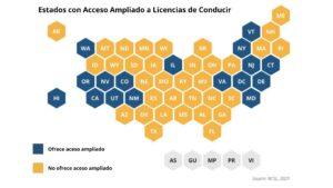 Los estados en azul permiten a inmigrantes indocumentados obtener licencias de conducir bajo propuestas llamadas DRIVE Safe Bills.